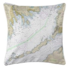 Buzzards Bay, MA II Nautical Chart Pillow
