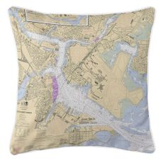 Boston, Massachusetts Nautical Chart Pillow