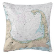 Cape Cod, Massachusetts Nautical Chart Pillow