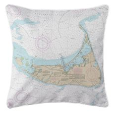 Nantucket, Massachusetts Nautical Chart Pillow