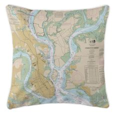 Charleston, South Carolina Nautical Chart Pillow