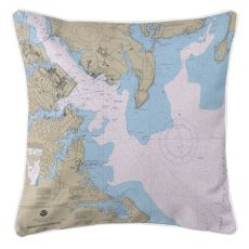 Annapolis Harbor, Maryland Nautical Chart Pillow