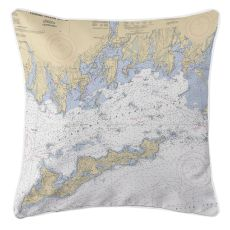 Fishers Island Sound, Connecticut Nautical Chart Pillow