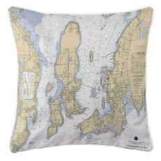 Narragansett Bay, Road Island Nautical Chart Pillow