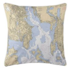 Providence River, Road Island Nautical Chart Pillow