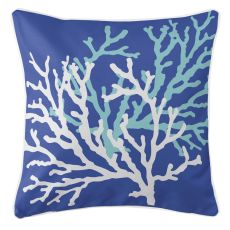 Coral Duo On Cobalt Pillow