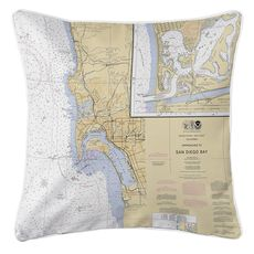San Diego, CA Nautical Chart Pillow