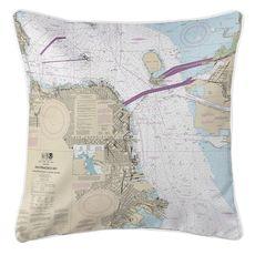 San Francisco, CA Nautical Chart Pillow