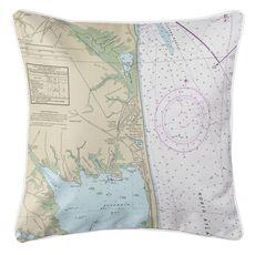 Rehoboth Beach, DE Nautical Chart Pillow