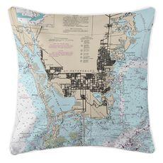 St. Petersburg, FL Nautical Chart Pillow