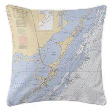 Key Largo, FL Nautical Chart Pillow