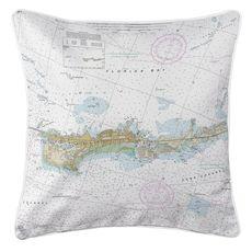 Vaca Key Marathon, FL Nautical Chart Pillow