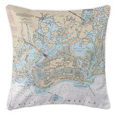 Marco Island, FL Nautical Chart Pillow