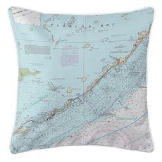 Islamorada, FL Nautical Chart Pillow
