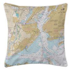 New York Harbor, NY Nautical Chart Pillow