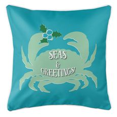 Seas & Greetings Crab Christmas Coastal Pillow - Light Turquoise, Mint