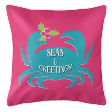 Seas & Greetings Crab Christmas Coastal Pillow - Pink, Light Turquoise