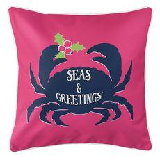 Seas & Greetings Crab Christmas Coastal Pillow - Pink, Navy