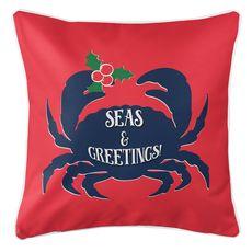 Seas & Greetings Crab Christmas Coastal Pillow - Red, Navy