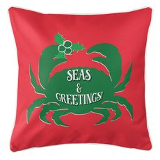 Seas & Greetings Crab Christmas Coastal Pillow - Green on Red