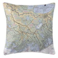 New Orleans, LA Nautical Chart Pillow