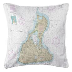 Block Island, RI Nautical Chart Pillow