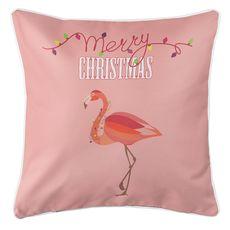 Flamingo Christmas Coastal Pillow - Blush