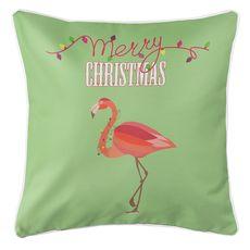 Flamingo Christmas Coastal Pillow - Light Green