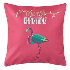 Flamingo Christmas Coastal Pillow - Pink