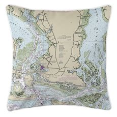 Beaufort, NC Nautical Chart Pillow