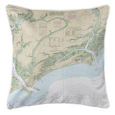 Kiawah Island, SC Nautical Chart Pillow