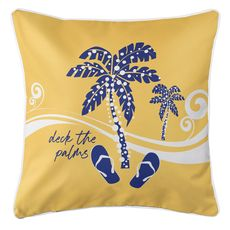 Deck the Palms Coastal Pillow - Blue on Yellow