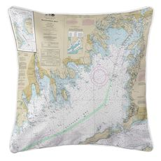 Buzzards Bay, MA Nautical Chart Pillow