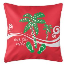 Deck the Palms Coastal Pillow - Green on Red