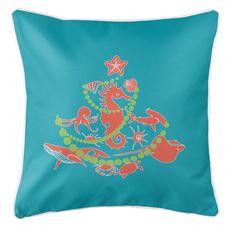 Sea Life Christmas Tree Coastal Pillow -  Coral on Light Turquoise
