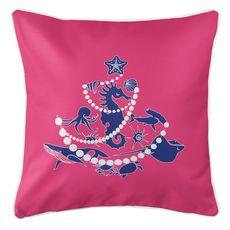 Sea Life Christmas Tree Coastal Pillow - Blue on Pink