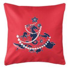 Sea Life Christmas Tree Coastal Pillow - Navy on Red