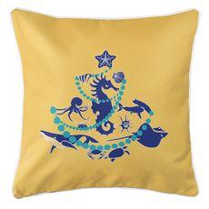 Sea Life Christmas Tree Coastal Pillow - Navy on Yellow