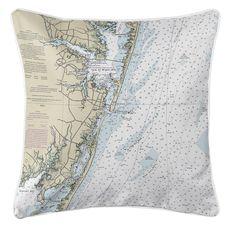 Ocean City, MD Nautical Chart Pillow