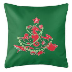 Sea Life Christmas Tree Coastal Pillow - Red on Green