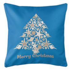 Seashell Christmas Tree Coastal Pillow - Blue