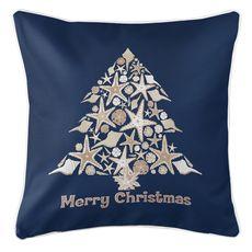 Seashell Christmas Tree Coastal Pillow - Navy