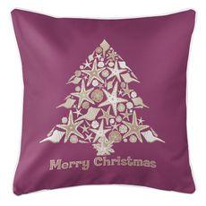 Seashell Christmas Tree Coastal Pillow - Plum