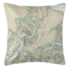 Beaufort & Ladys Island, SC Nautical Chart Pillow