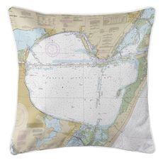 Corpus Christi Bay, TX Nautical Chart Pillow