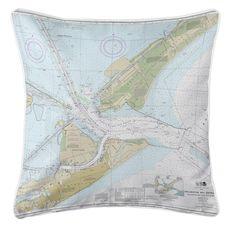 Galveston, TX Nautical Chart Pillow