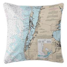 Clearwater, FL Nautical Chart Pillow