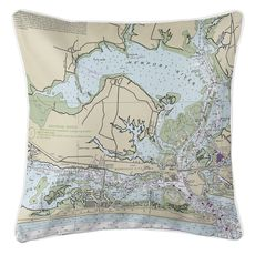 Morehead City, NC Nautical Chart Pillow