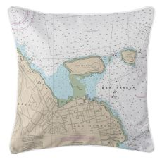 Bar Harbor, Maine Nautical Chart Pillow