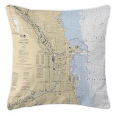 Chicago Harbor, Il Nautical Chart Pillow